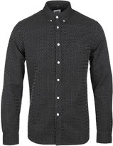 Edwin Black & White Garment Washed Long Sleeve Shirt