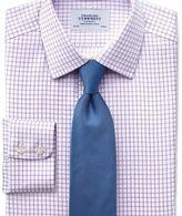 Charles Tyrwhitt Slim fit non-iron windowpane check lilac shirt