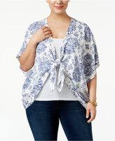 Eyeshadow Trendy Plus Size Tie-Front Kimono