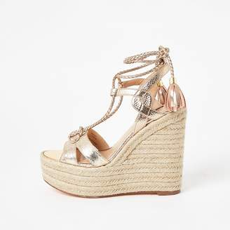 River Island Gold metallic tie ankle high wedge sandals