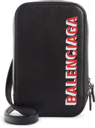 Balenciaga Cash Logo Leather Crossbody Bag