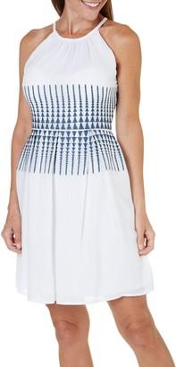 London Times Women's Petite Embroidered Gauze Halter Full Skirt Dress