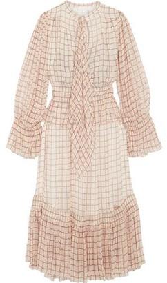 Chloé Printed Shirred Silk-chiffon Midi Dress