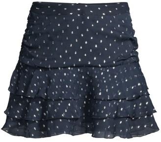 The Kooples Ruffled Polka-Dot Mini Skirt
