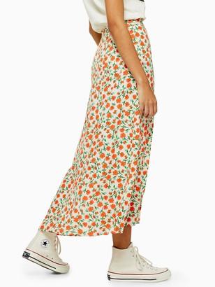 Topshop Austin Double Split Floral Midi Skirt - Multi