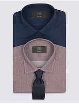 M&S Collection 2 Pack Easy to Iron Regular Shirts with Tie