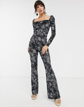 Bershka velvet co-ord flared trousers in floral print