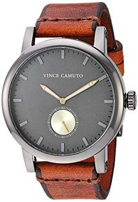 Vince Camuto Men's VC/1108GYDG Gunmetal and Brown Leather Strap Watch