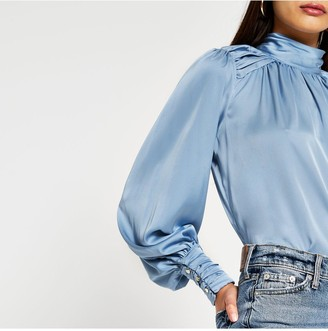 River Island Rouched High Neck Blouse - Blue