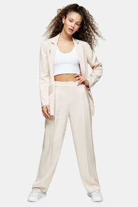 Topshop Womens Natural Jacquard Stripe Trousers - Nude