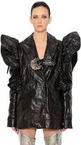 Ruffle Shoulders Wrinkled Leather Jacket