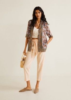 MANGO Straight linen-blend trousers salmon - XS - Women