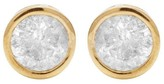 14K Yellow Gold Round Real 1.5ct. Diamond Solitaire Bezel Stud Earring