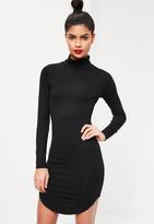 Missguided Curve Hem Turtle Neck Bodycon Dress Black