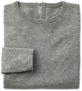 Charles Tyrwhitt Light Grey Merino Cashmere Zip Back Sweater Size 14