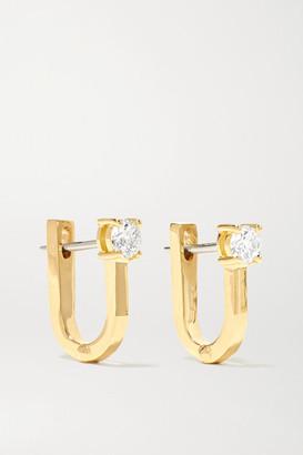 Melissa Kaye Aria U Huggie 18-karat Gold Diamond Earrings