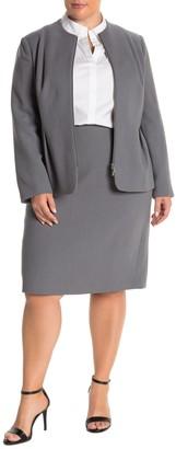 Lafayette 148 New York Back Vent Wool Pencil Skirt (Plus Size)