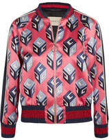 Gucci Printed Duchesse Silk-satin Bomber Jacket - Pink