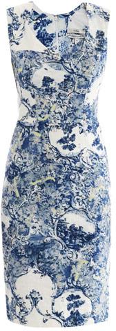 Erdem Trina Milandes-print fitted dress