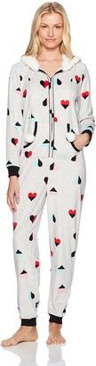 Mae Amazon Brand Women's Sleepwear Microfleece Hooded Onesie Pajamas with Poms