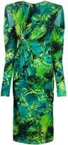 Versace Jungle print ruched midi dress