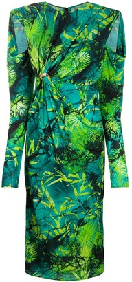 Versace Jungle print ruched midi dress