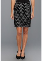 Vince Camuto Leaf Eyelet Skirt (Rich Black) - Apparel