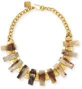 Ashley Pittman Jumbe Light Horn & Bronze Collar Necklace