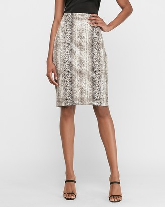 Express High Waisted Snakeskin Print Pencil Skirt