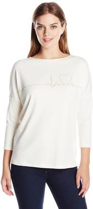 Joan Vass Women's 3/4 Sleeve Heartbeat Top