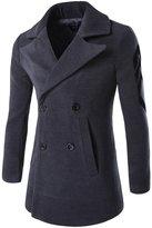 TUNEVUSE Men's Lapel Collar Wool Coat Slim Double Breasted Overcoat US M Dark Gray