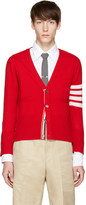 Thom Browne Red Classic Short V-neck Cardigan