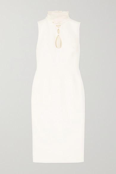 Roksanda Ilexa Cutout Chiffon-trimmed Crepe Midi Dress - Ivory