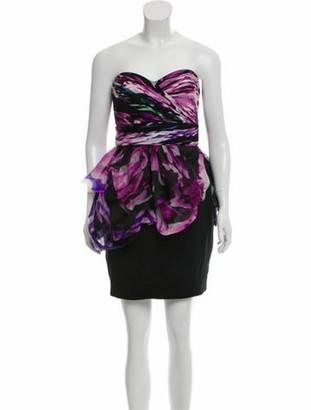 Marchesa Notte Silk Strapless Dress Purple