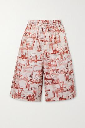 Joseph David Printed Twill Shorts - Brick
