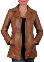 Brandslock Vintage Women's Long Real Leather Biker Jacket
