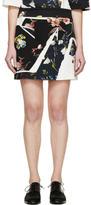 Erdem Navy and Ivory Botanical Shard Mari Mini Skirt
