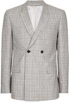 Topman Grey Check Linen Blend Skinny Fit Suit Jacket
