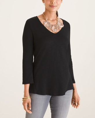 Chico's Cotton-Blend Slub V-Neck Tee