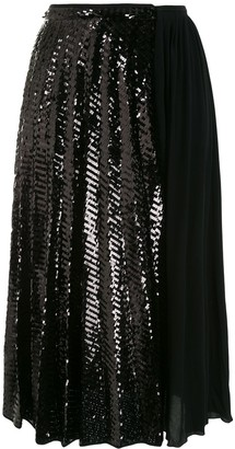 No.21 Sequin Panel Pleated Skirt