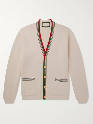 Gucci Stripe-Trimmed Cotton Cardigan