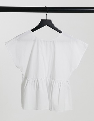 Vila oversized blouse with back bow tie detail in white