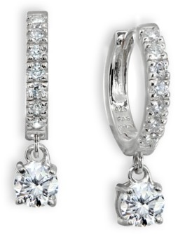 Giani Bernini Cubic Zirconia Dangle Drop Huggie Hoop Earring in Sterling Silver or 18k Gold over Silver (Also available in Lab created Opal)