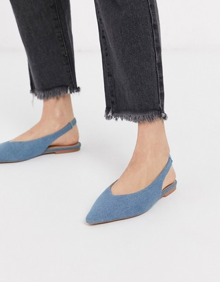 ASOS DESIGN Lacy slingback ballet flats in denim