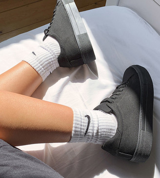 ASOS DESIGN Day Time chunky flatform lace up trainers in black
