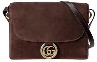 Gucci Medium GG Ring Suede Shoulder Bag