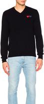 Comme des Garcons V Neck Double Emblem Sweater