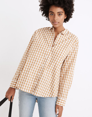 Madewell Side-Button Oversized Ex-Boyfriend Shirt in Gingham Check
