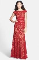 Tadashi Shoji Textured Lace Mermaid Gown (Regular & Petite)
