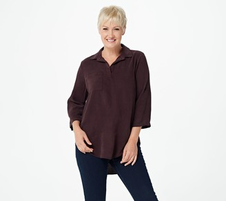 Side Stitch Tencera Pull-Over Tunic with Roll Tab Sleeves